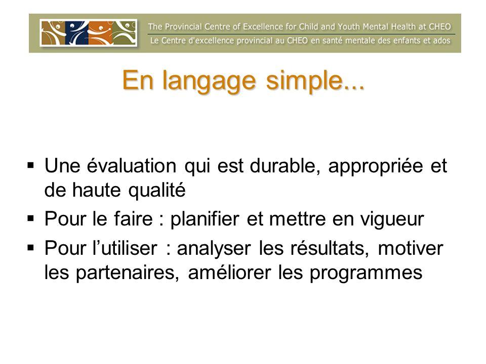 En langage simple... Une évaluation qui est durable, appropriée et de haute qualité Pour le faire : planifier et mettre en vigueur Pour lutiliser : an