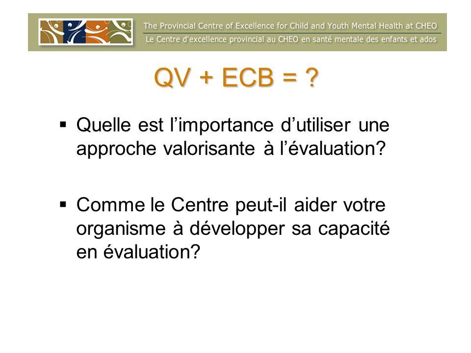 QV + ECB = ? Quelle est limportance dutiliser une approche valorisante à lévaluation? Comme le Centre peut-il aider votre organisme à développer sa ca
