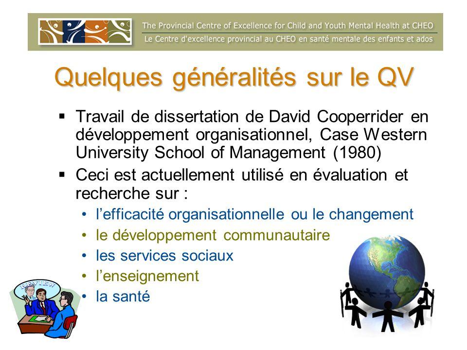 Le QV peut être appliqué avec succès si : Lorganisme sintéresse à utiliser des approches axées sur la participation et la collaboration.