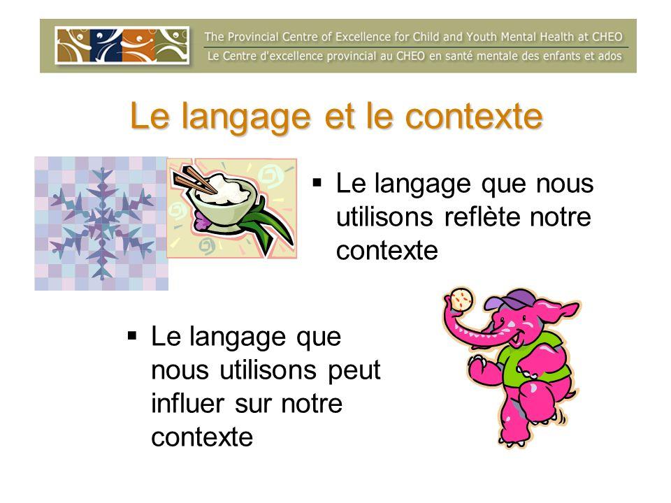 Le langage et le contexte Le langage que nous utilisons reflète notre contexte Le langage que nous utilisons peut influer sur notre contexte