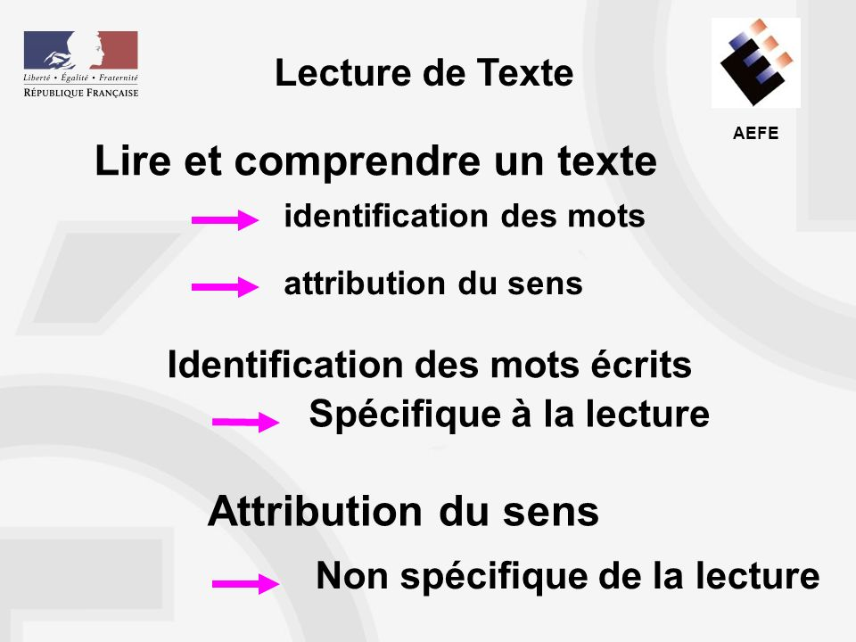 AEFE Conséquences pour lenseignement Rendre les opérations de décodage et didentification-reconnaissance des mots aussi automatisées que possible Mener simultanément des activités sur le code et sur le sens Donner un sens à la lecture à haute voix Travailler lextension du vocabulaire