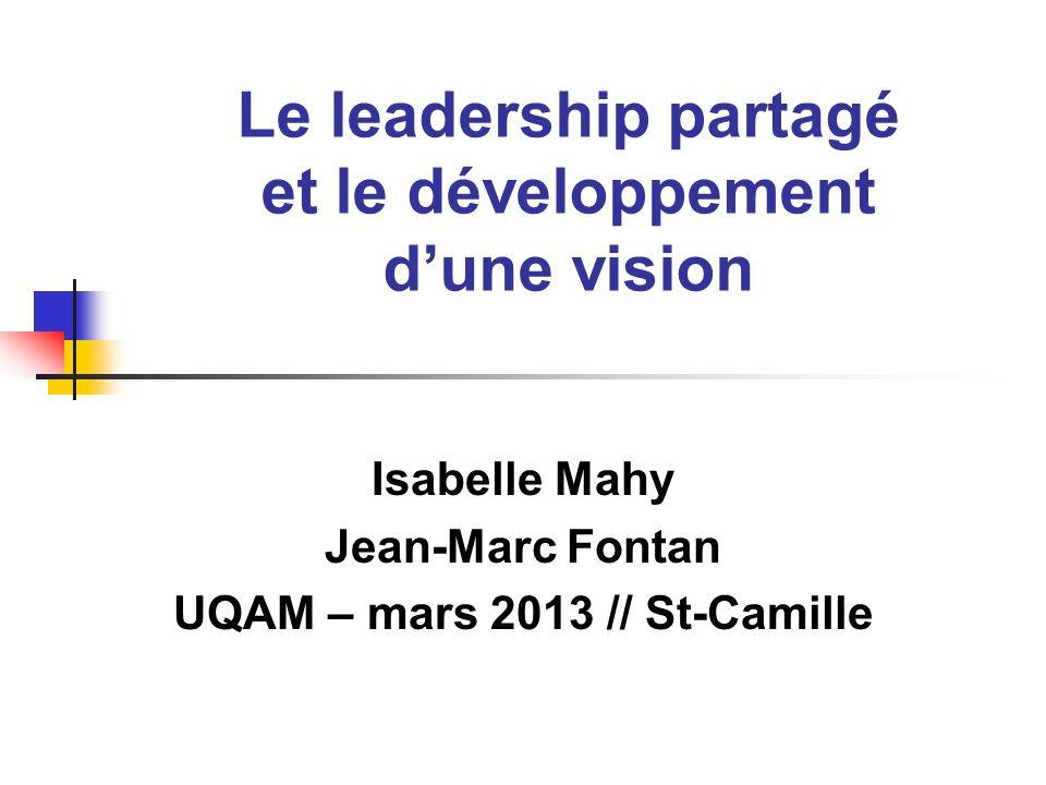 Le leadership partagé et le développement dune vision Isabelle Mahy Jean-Marc Fontan UQAM – mars 2013 // St-Camille