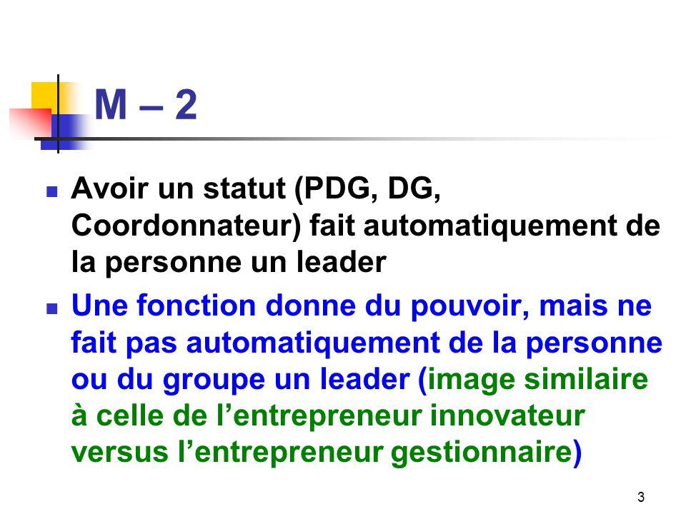 M – 3 Les leaders sont charismatiques Les leaders mobilisent parce qu ils sont respectés pour leur travail, pour leur intégrité, pour les idées quils proposent – une vision claire et une capacité de décision –, pour la confiance quils inspirent et pour leur engagement 4