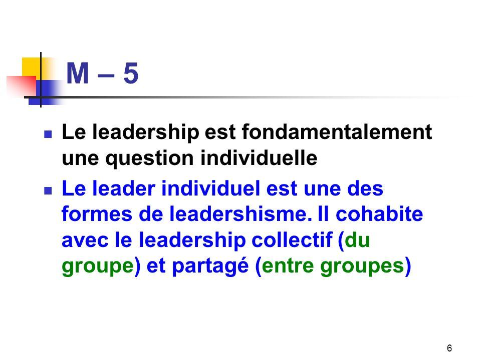 M – 5 Le leadership est fondamentalement une question individuelle Le leader individuel est une des formes de leadershisme. Il cohabite avec le leader