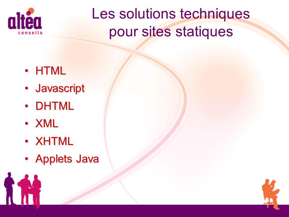 Les solutions techniques pour sites statiques HTML HTML Javascript Javascript DHTML DHTML XML XML XHTML XHTML Applets Java Applets Java