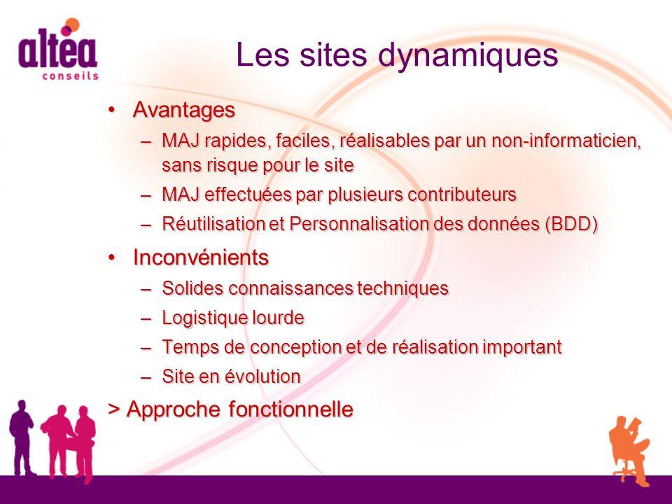 Les sites dynamiques Avantages Avantages – MAJ rapides, faciles, réalisables par un non-informaticien, sans risque pour le site – MAJ effectuées par p