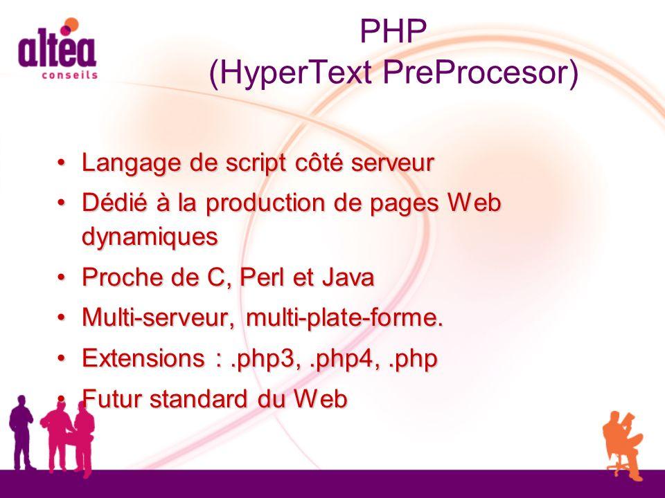 PHP (HyperText PreProcesor) Langage de script côté serveur Langage de script côté serveur Dédié à la production de pages Web dynamiques Dédié à la pro