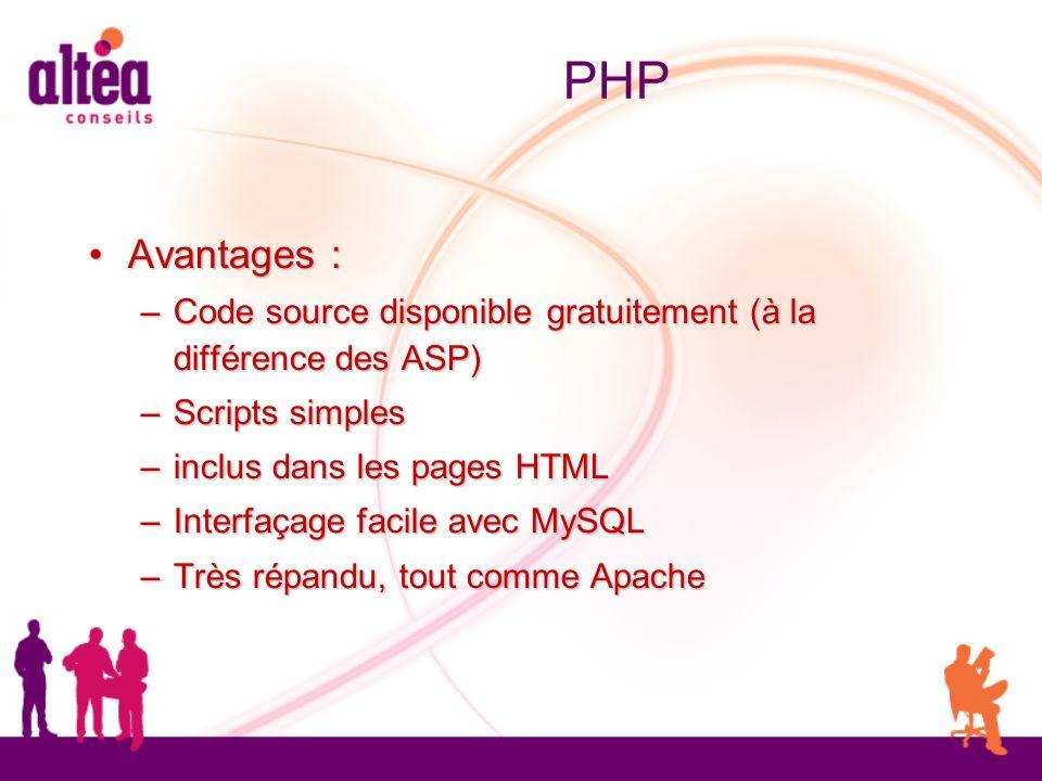 PHP Avantages : Avantages : – Code source disponible gratuitement (à la différence des ASP) – Scripts simples – inclus dans les pages HTML – Interfaça