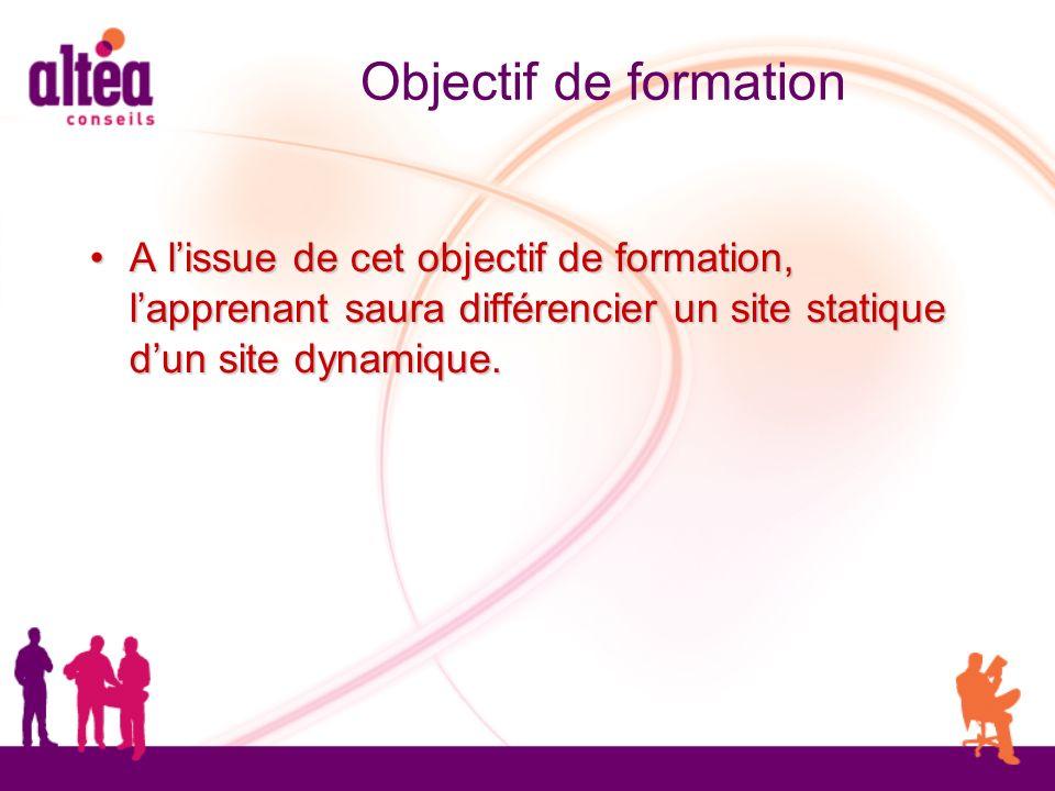 Objectif de formation A lissue de cet objectif de formation, lapprenant saura différencier un site statique dun site dynamique. A lissue de cet object
