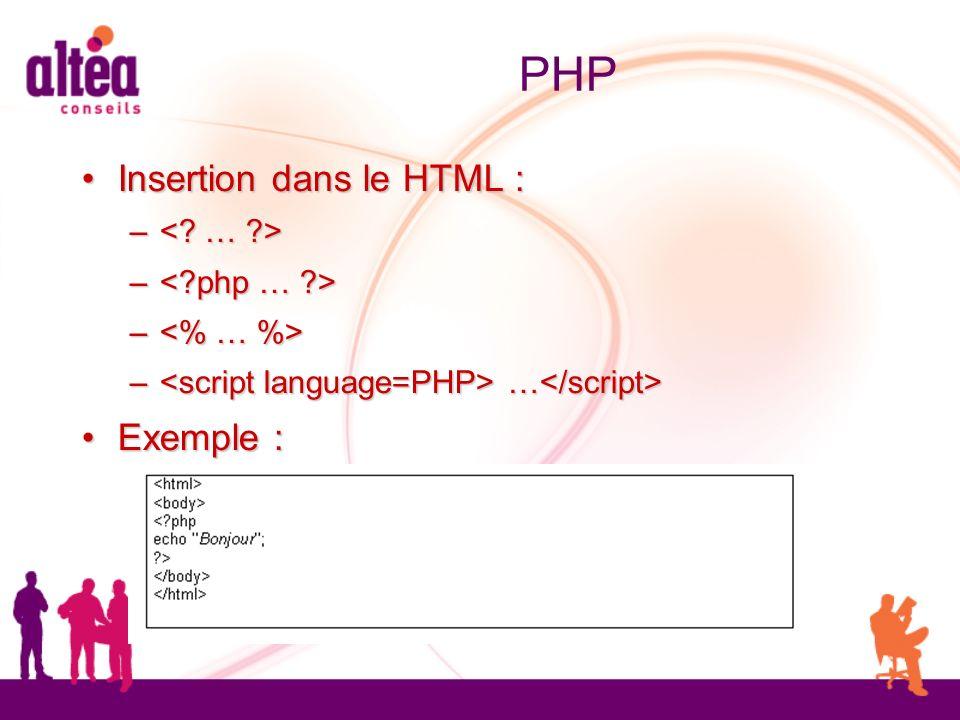 PHP Insertion dans le HTML : Insertion dans le HTML : – – – … – … Exemple : Exemple :