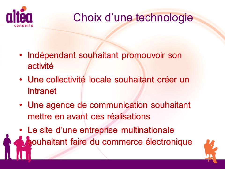 Choix dune technologie Indépendant souhaitant promouvoir son activité Indépendant souhaitant promouvoir son activité Une collectivité locale souhaitan