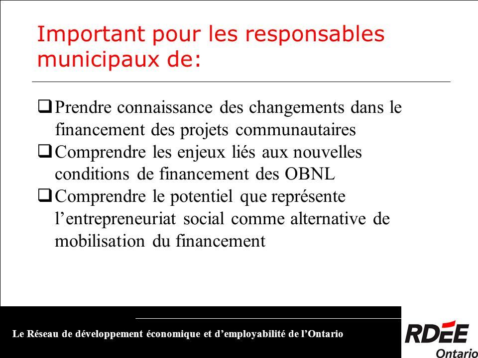 Important pour les responsables municipaux de: Prendre connaissance des changements dans le financement des projets communautaires Comprendre les enje