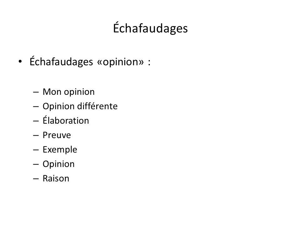 Échafaudages Échafaudages «opinion» : – Mon opinion – Opinion différente – Élaboration – Preuve – Exemple – Opinion – Raison