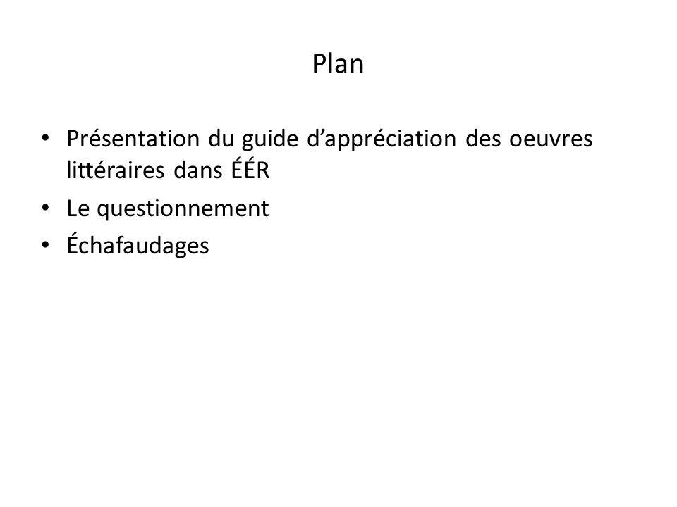 Plan Présentation du guide dappréciation des oeuvres littéraires dans ÉÉR Le questionnement Échafaudages