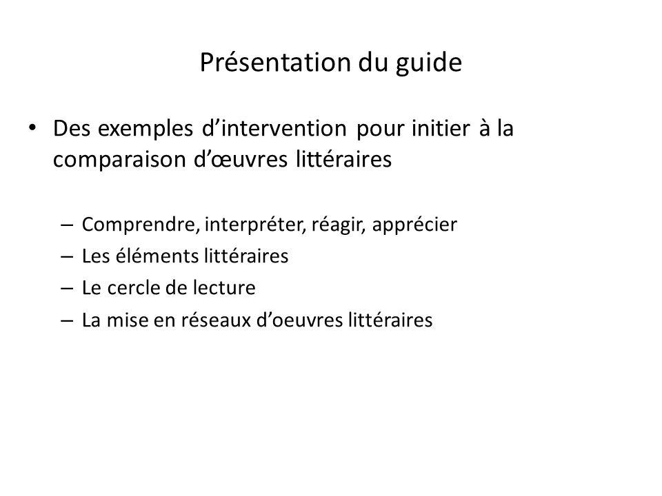 Présentation du guide Des exemples dintervention pour initier à la comparaison dœuvres littéraires – Comprendre, interpréter, réagir, apprécier – Les