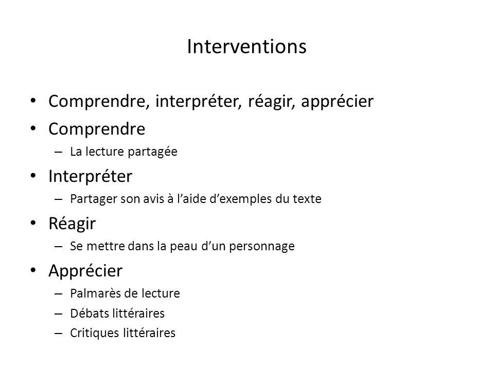 Interventions Comprendre, interpréter, réagir, apprécier Comprendre – La lecture partagée Interpréter – Partager son avis à laide dexemples du texte R