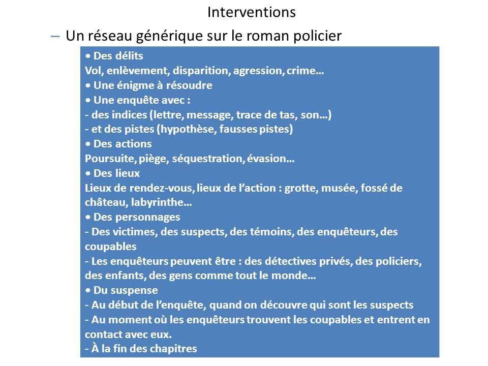 Interventions – Un réseau générique sur le roman policier Des délits Vol, enlèvement, disparition, agression, crime… Une énigme à résoudre Une enquête