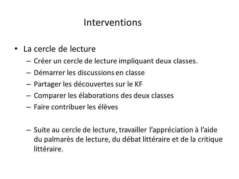 Interventions La cercle de lecture – Créer un cercle de lecture impliquant deux classes. – Démarrer les discussions en classe – Partager les découvert