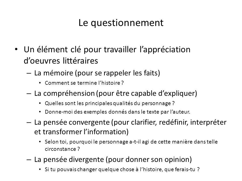 Le questionnement Un élément clé pour travailler lappréciation doeuvres littéraires – La mémoire (pour se rappeler les faits) Comment se termine lhistoire .