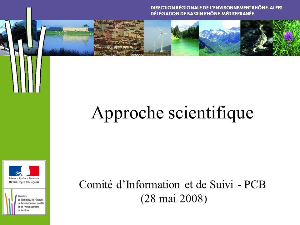 DIRECTION RÉGIONALE DE LENVIRONNEMENT RHÔNE-ALPES DÉLÉGATION DE BASSIN RHÔNE-MÉDITERRANÉE Approche scientifique Comité dInformation et de Suivi - PCB (28 mai 2008)