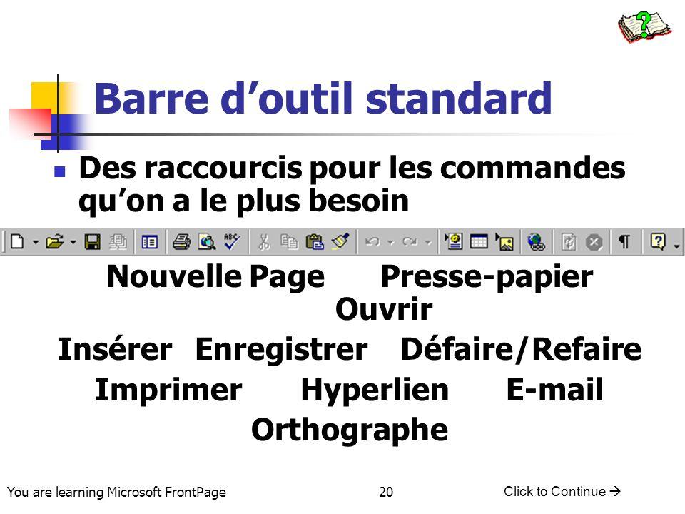 You are learning Microsoft FrontPage Click to Continue 20 Barre doutil standard Des raccourcis pour les commandes quon a le plus besoin Nouvelle PageP