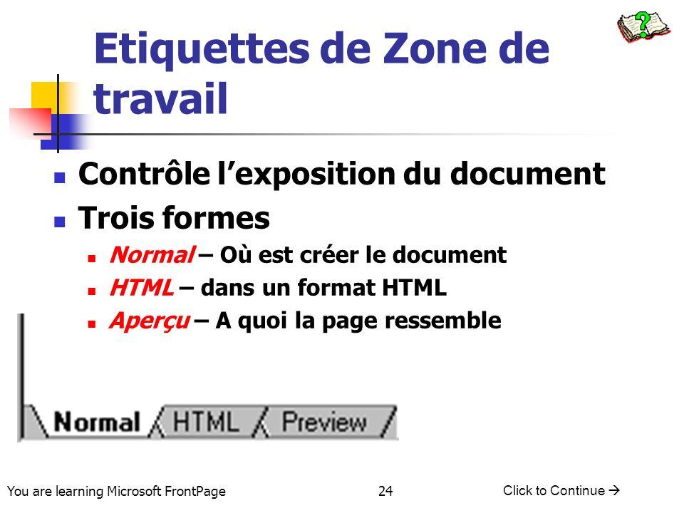 You are learning Microsoft FrontPage Click to Continue 24 Etiquettes de Zone de travail Contrôle lexposition du document Trois formes Normal – Où est