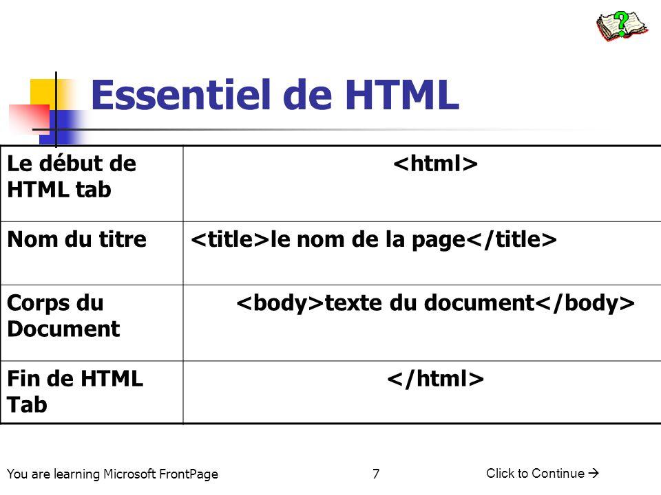 You are learning Microsoft FrontPage Click to Continue 7 Essentiel de HTML Le début de HTML tab Nom du titre le nom de la page Corps du Document texte