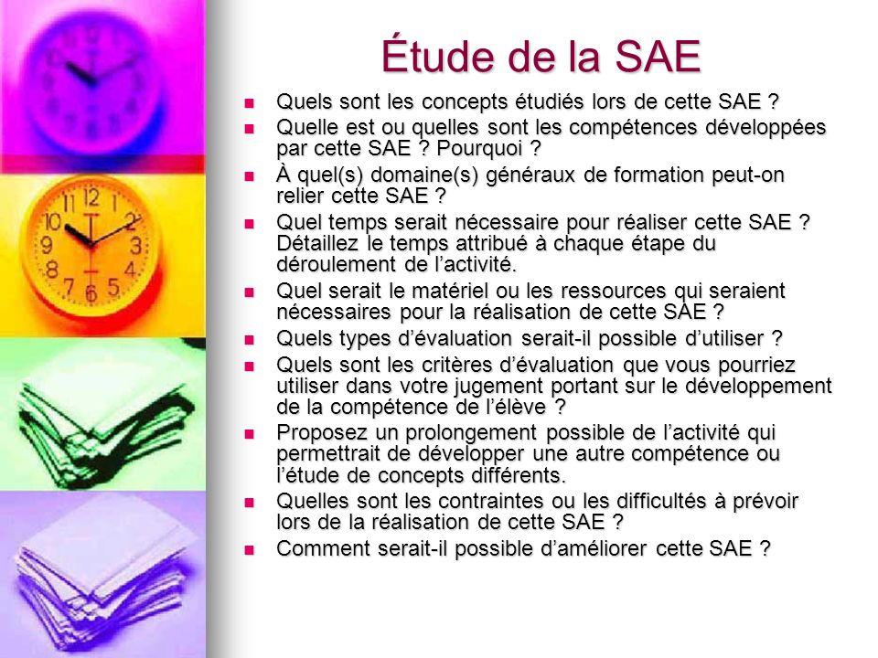 Étude de la SAE Quels sont les concepts étudiés lors de cette SAE .