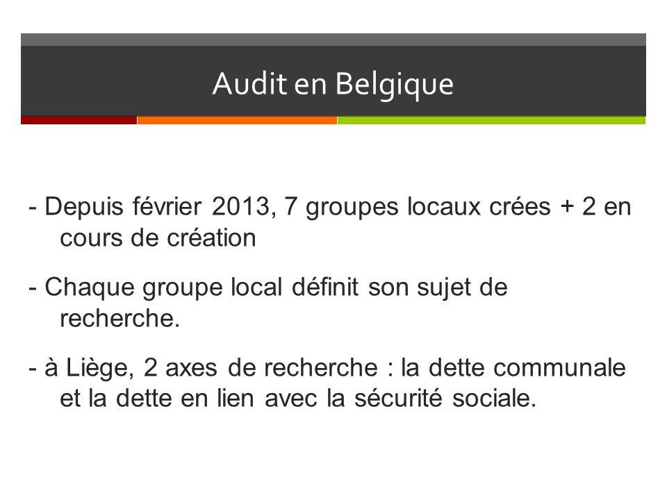 Audit en Belgique - Depuis février 2013, 7 groupes locaux crées + 2 en cours de création - Chaque groupe local définit son sujet de recherche.