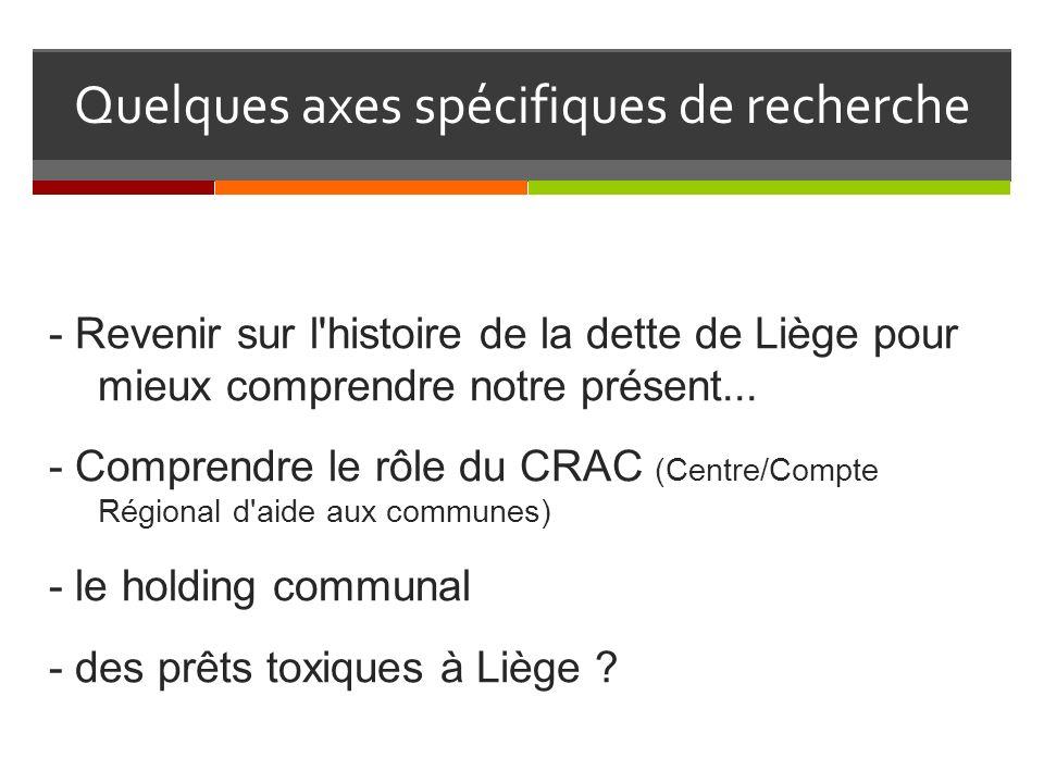 Quelques axes spécifiques de recherche - Revenir sur l histoire de la dette de Liège pour mieux comprendre notre présent...