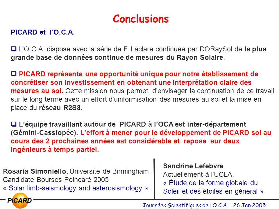 Journées Scientifiques de lO.C.A.26 Jan 2005 Conclusions PICARD et lO.C.A.