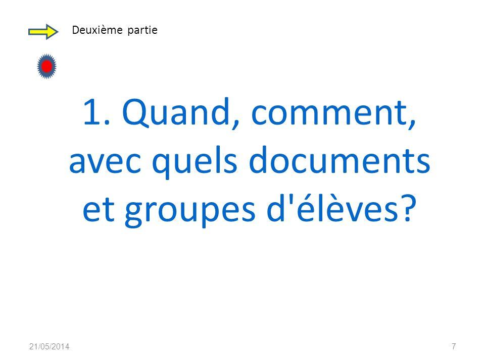 Deuxième partie 1. Quand, comment, avec quels documents et groupes d élèves? 21/05/20147
