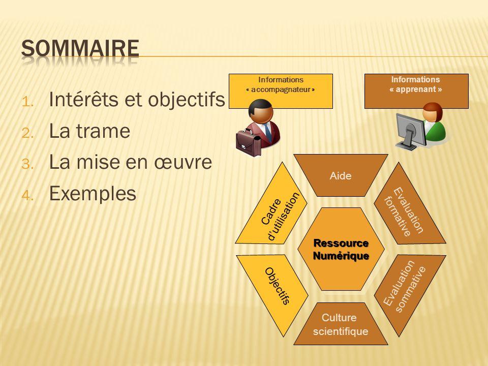 1. Intérêts et objectifs 2. La trame 3. La mise en œuvre 4.