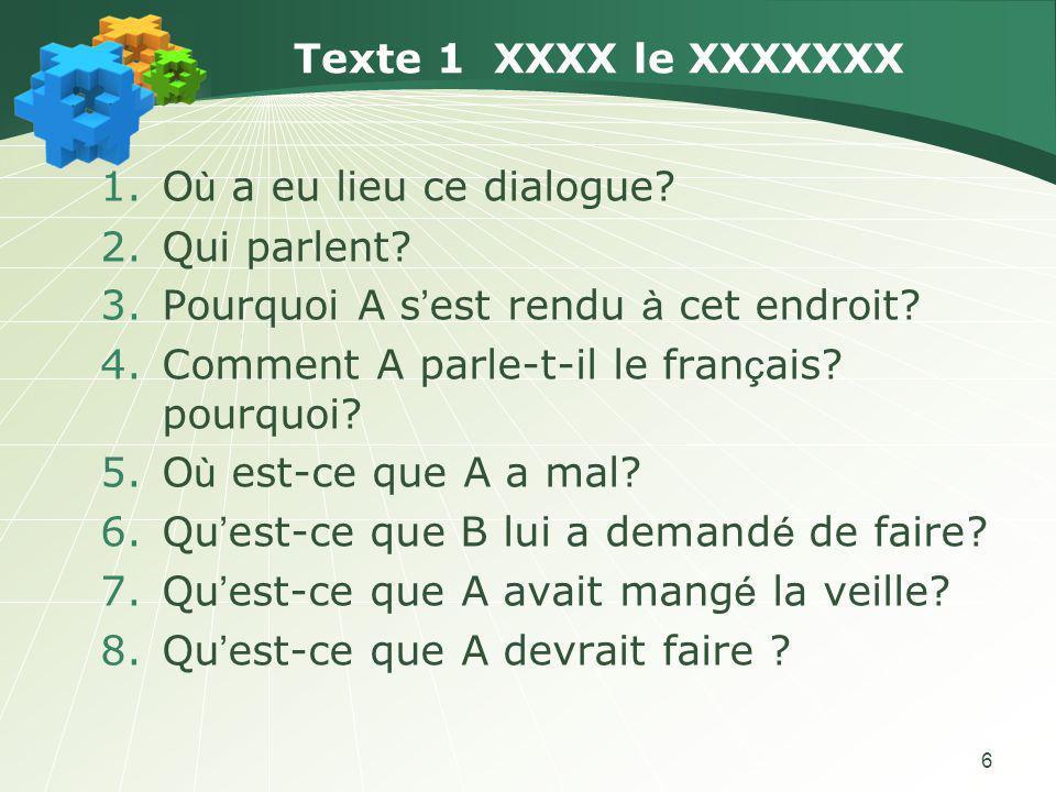 6 Texte 1 XXXX le XXXXXXX 1.O ù a eu lieu ce dialogue.