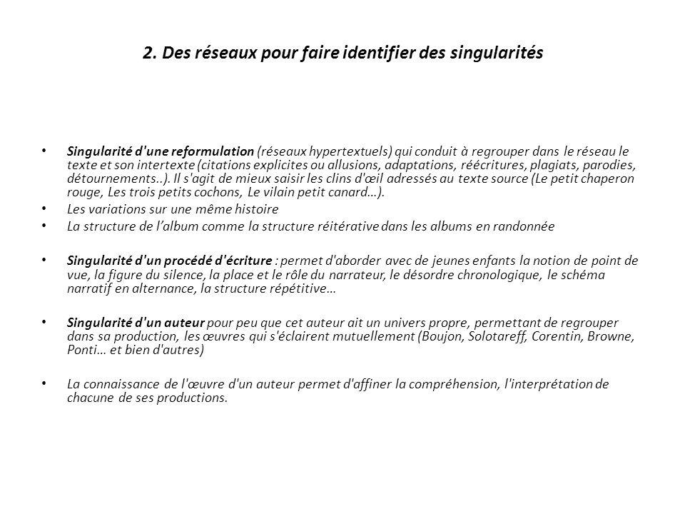 2. Des réseaux pour faire identifier des singularités Singularité d'une reformulation (réseaux hypertextuels) qui conduit à regrouper dans le réseau l