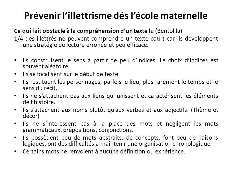 Prévenir lillettrisme dés lécole maternelle Ce qui fait obstacle à la compréhension dun texte lu (Bentolila) 1/4 des illettrés ne peuvent comprendre u