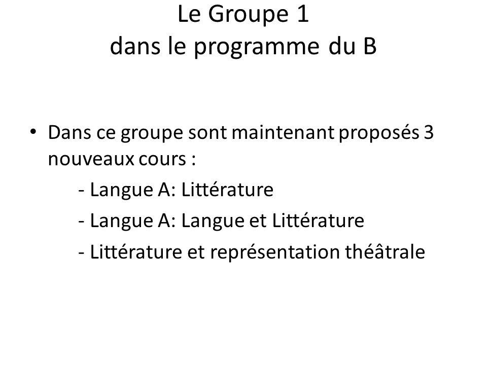Le Groupe 1 dans le programme du B Dans ce groupe sont maintenant proposés 3 nouveaux cours : - Langue A: Littérature - Langue A: Langue et Littérature - Littérature et représentation théâtrale