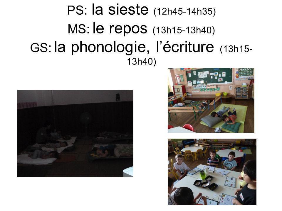 PS: la sieste (12h45-14h35) MS: le repos (13h15-13h40) GS: la phonologie, lécriture (13h15- 13h40)