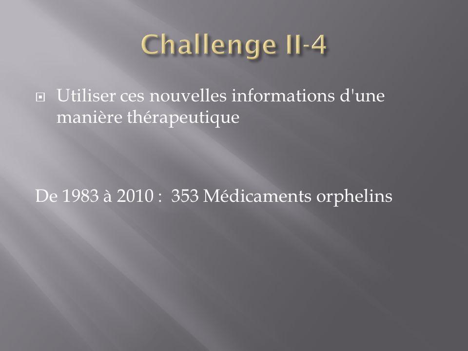 Utiliser ces nouvelles informations d'une manière thérapeutique De 1983 à 2010 : 353 Médicaments orphelins