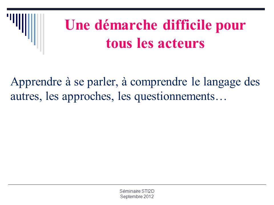 Une démarche difficile pour tous les acteurs Apprendre à se parler, à comprendre le langage des autres, les approches, les questionnements… Séminaire STI2D Septembre 2012