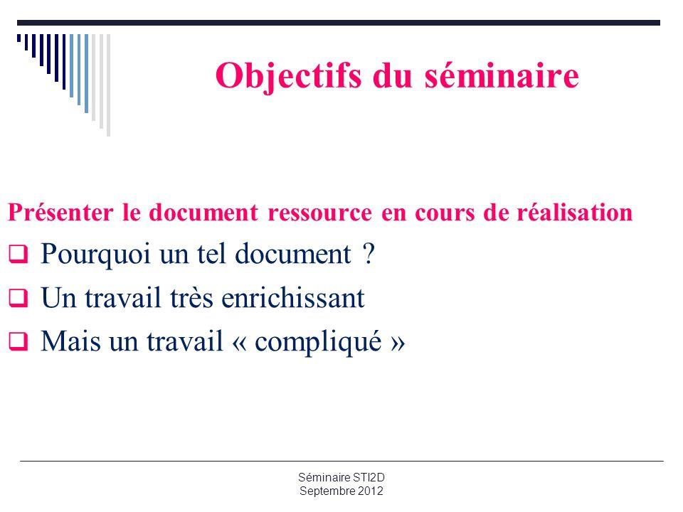 Séminaire STI2D Septembre 2012 Objectifs du séminaire Présenter le document ressource en cours de réalisation Pourquoi un tel document ? Un travail tr