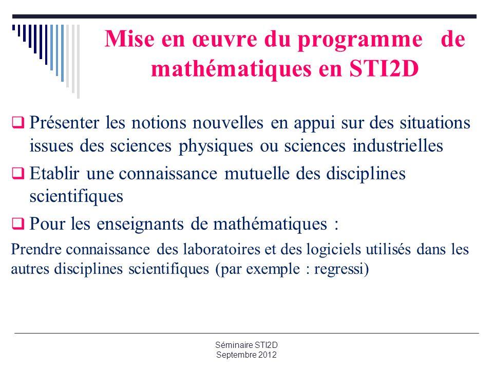 Mise en œuvre du programme de mathématiques en STI2D Présenter les notions nouvelles en appui sur des situations issues des sciences physiques ou scie