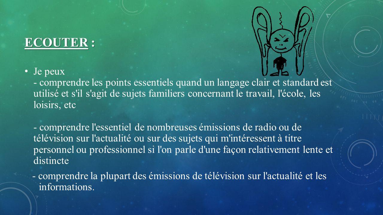 ECOUTER : Je peux - comprendre les points essentiels quand un langage clair et standard est utilisé et s'il s'agit de sujets familiers concernant le t