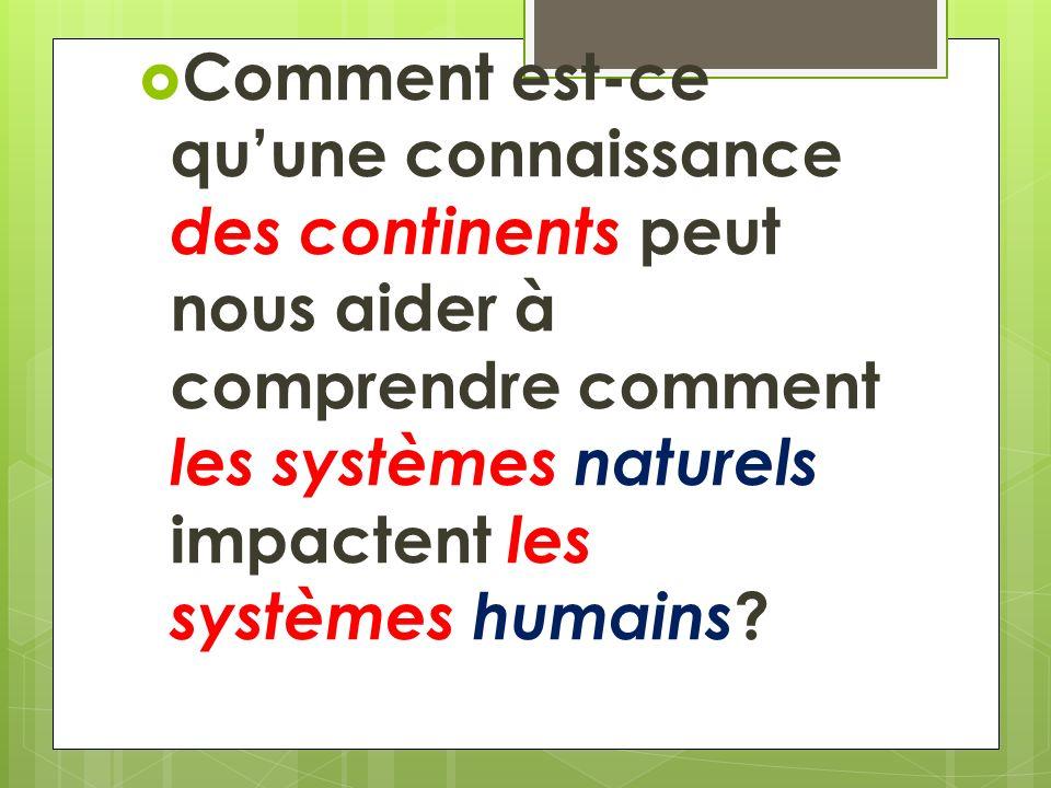 Comment est-ce quune connaissance des continents peut nous aider à comprendre comment les systèmes naturels impactent les systèmes humains ?