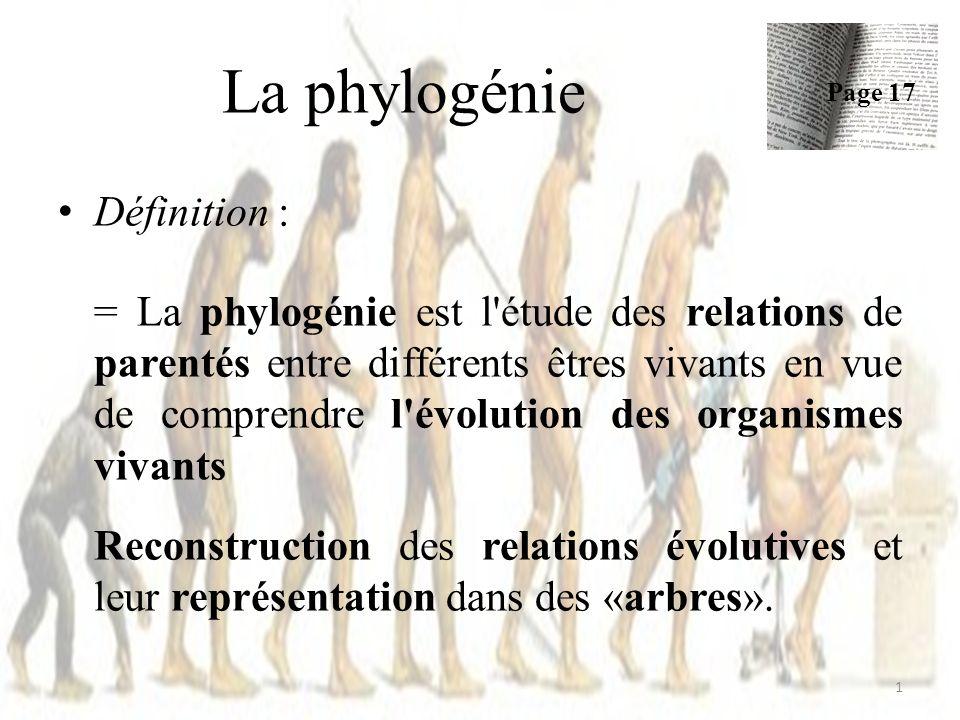 Définition : = La phylogénie est l étude des relations de parentés entre différents êtres vivants en vue de comprendre l évolution des organismes vivants Reconstruction des relations évolutives et leur représentation dans des «arbres».