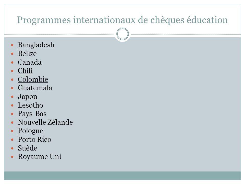 Programmes internationaux de chèques éducation Bangladesh Belize Canada Chili Colombie Guatemala Japon Lesotho Pays-Bas Nouvelle Zélande Pologne Porto Rico Suède Royaume Uni