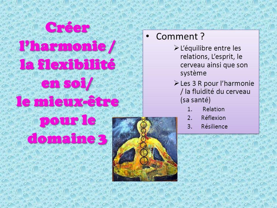 Créer lharmonie / la flexibilité en soi/ le mieux-être pour le domaine 3 Comment .