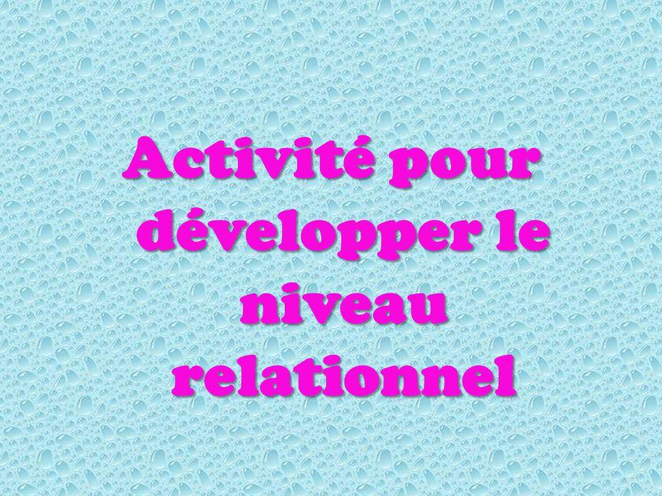 Activité pour développer le niveau relationnel