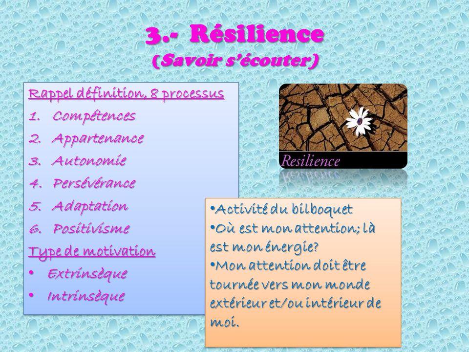 3.- Résilience ( Savoir sécouter) Rappel définition, 8 processus 1.Compétences 2.Appartenance 3.Autonomie 4.Persévérance 5.Adaptation 6.Positivisme Type de motivation Extrinsèque Extrinsèque Intrinsèque Intrinsèque Rappel définition, 8 processus 1.Compétences 2.Appartenance 3.Autonomie 4.Persévérance 5.Adaptation 6.Positivisme Type de motivation Extrinsèque Extrinsèque Intrinsèque Intrinsèque Activité du bilboquet Activité du bilboquet Où est mon attention; là est mon énergie.
