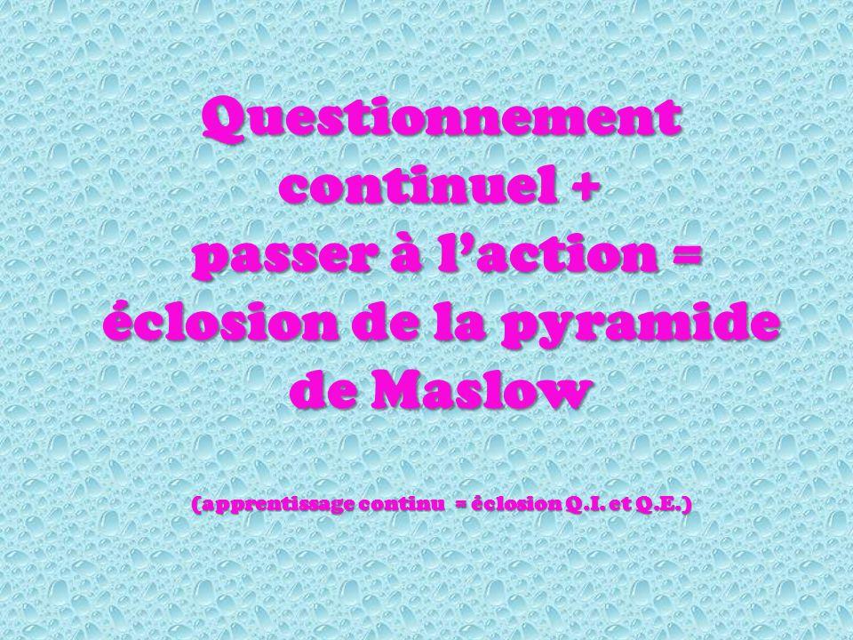 Questionnement continuel + passer à laction = éclosion de la pyramide de Maslow passer à laction = éclosion de la pyramide de Maslow (apprentissage continu = éclosion Q.I.